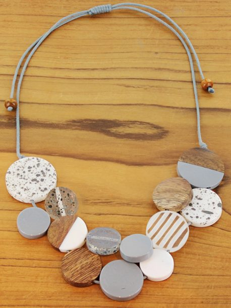 Wood and resin circle disc necklace