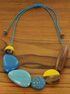 Mixed shape and material wood and resin necklace