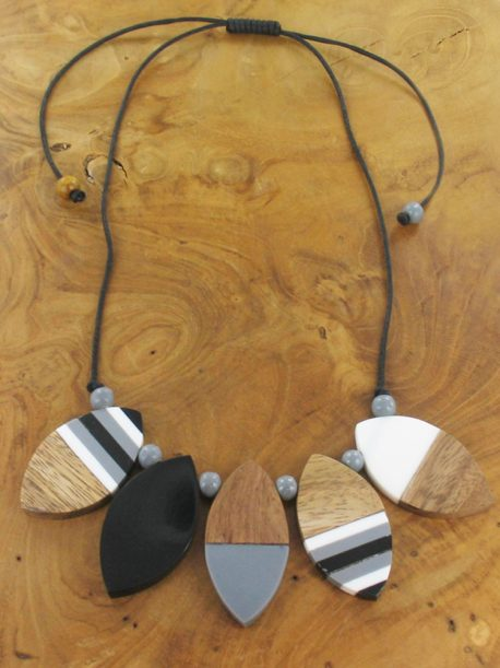 Black, white and grey resin and wood necklace