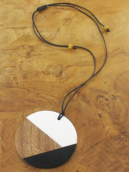Black and white resin and wood long disc necklace