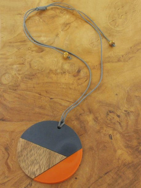 Orange and grey resin and wood long disc necklace