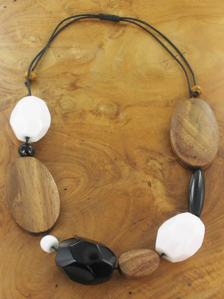 Mixed shape wood and resin black and white necklace