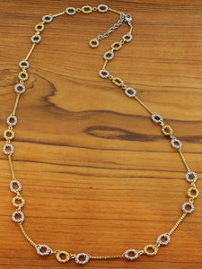 Long mixed metal necklace