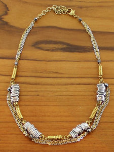 Short mixed metal mixed shape necklace