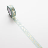 Washi Tape Meadow Flowers Mint - Gold