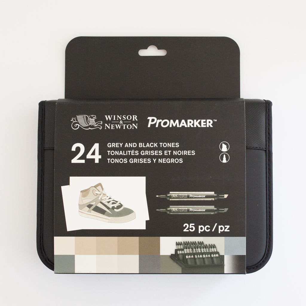 Winsor & Newton Promarker Set 24+1 Black & Greys