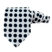White & Black Polka Dots Necktie