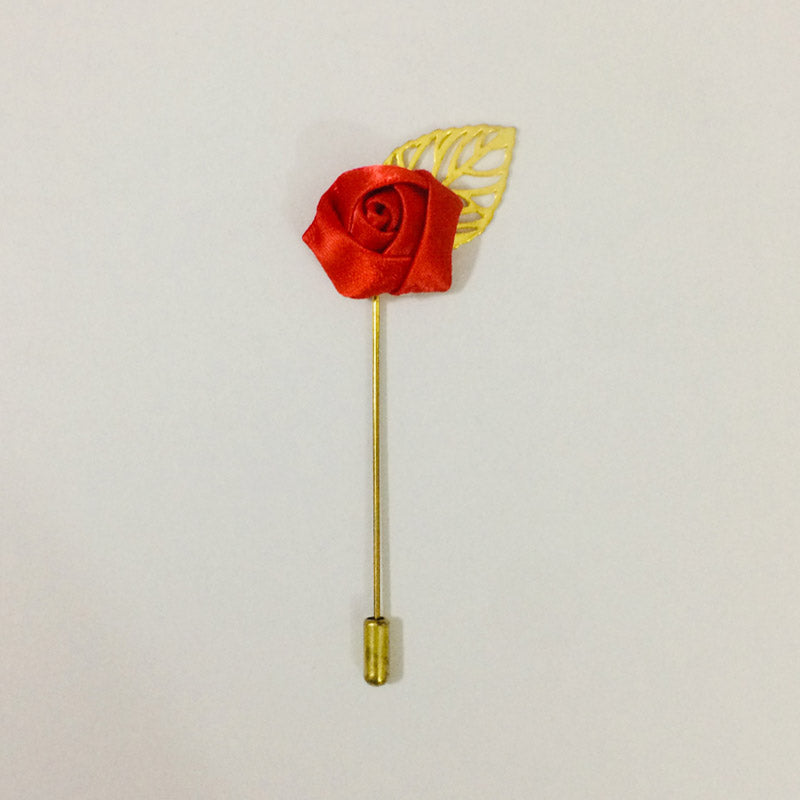 Red Gold Leaf Lapel Flower