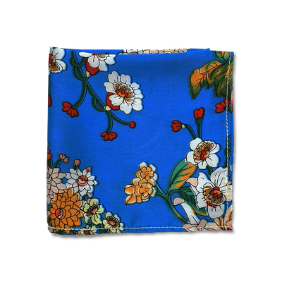 Aqua Garden Silk Pocket Square