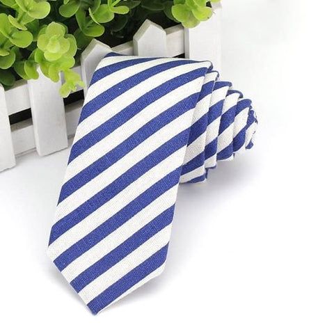 Royal Blue Striped - Cotton Tie