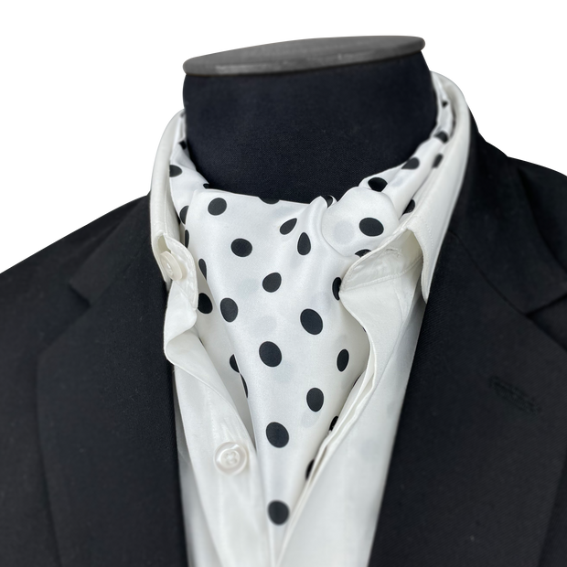 Black & White Polka dot Silk Cravat