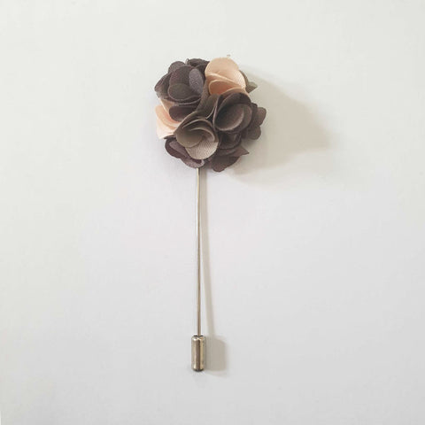 50 Shades of Grey Flower Lapel Pin