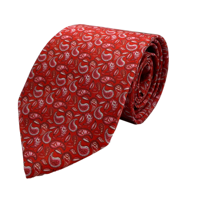 Crimson Paisleys Necktie