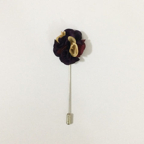 Garnet & Mahogany Flower Lapel Pin