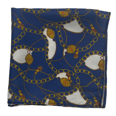 Blue & Gold Chain Silk Pocket Square