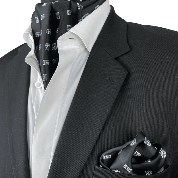 Black Diamond Silk Cravat SET