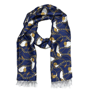Blue & Gold Chain Silk Scarf