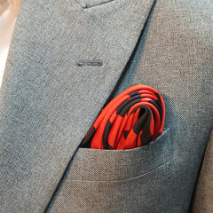 BLACK AND ORANGE NINJA SILK POCKET SQUARE