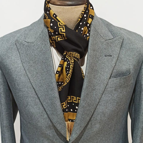 BLACK & MUSTRED GOLD BRANDED SCARF
