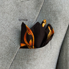 BLACK & MUSTARD LINEN POCKET SQUARE