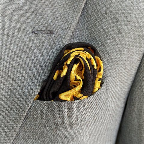 BLACK YELLOW BRANDED POCKET SQUARE