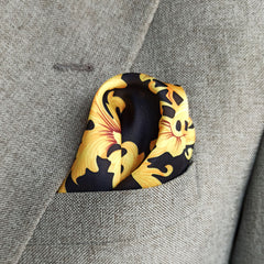 BLACK & YELLOW BRANDED SILK POCKET SQUARE