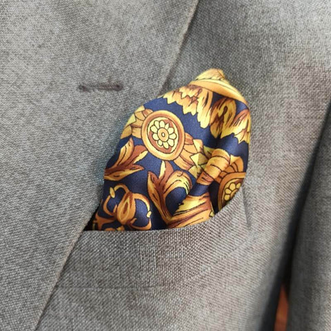 BLUE & GOLDEN VICTORIAN SILK POCKET SQUARE-1