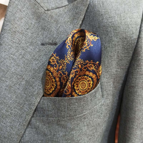 BLUE & GOLDEN VICTORIAN SILK POCKET SQUARE