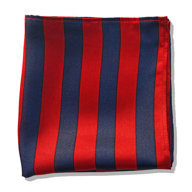 BLUE & RED STRIPES SILK POCKET SQUARE