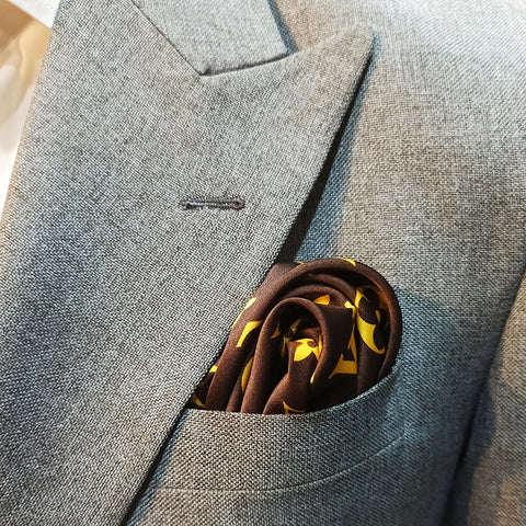 BROWN & YELLOW BRANDED SILK POCKET SQUARE