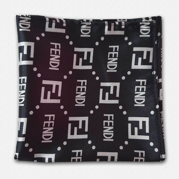 Black Coca Fendi Silk Pocket Square
