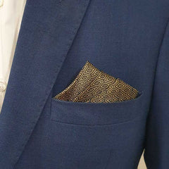 Black & Gold Diamond Pattern Pocket Square
