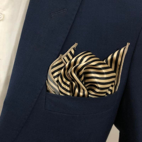 Black & Golden Striped Silk Pocket Square
