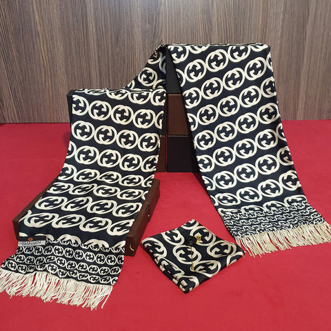 Black Branded Silk Scarf Set