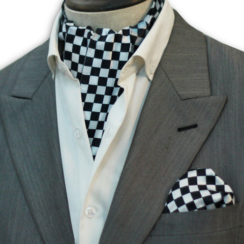 Black White Boxed Silk Cravat Set