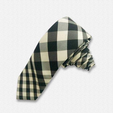 Black & White Checks And Plaids Neck Tie
