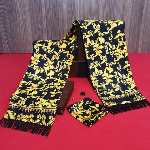 Black Yellow Branded Silk Scarf Set