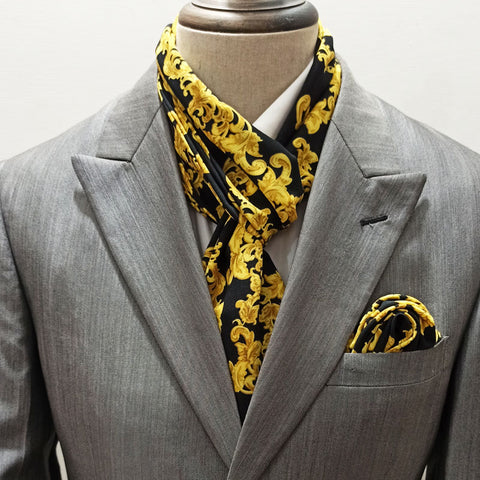 Black and Gold Branded Scarf Set