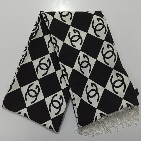 Black and White Chanel Wool Peach Scarf