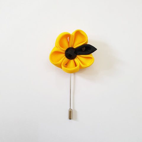 Black and Yellow Flower Lapel Pin