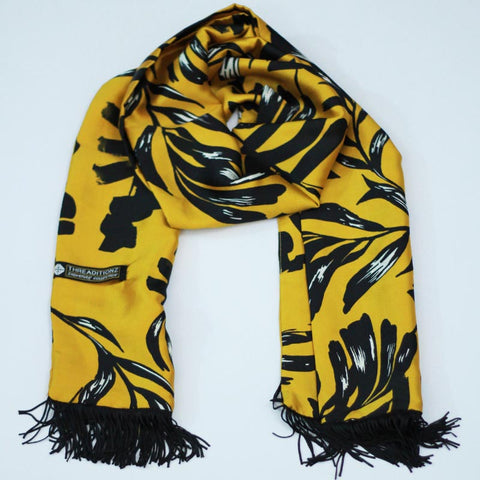 Black and Yellow Silk Scarf