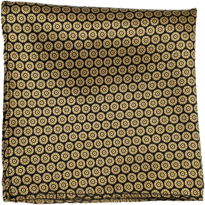 Black & Golden Spiral Pocket Square