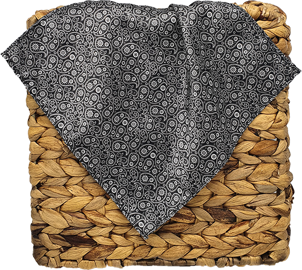 Black n Silver Paisly Pocket Square