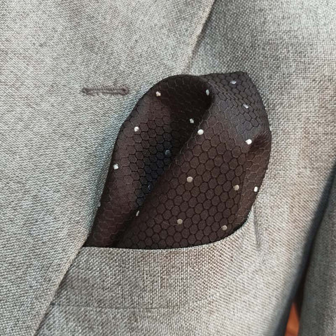 Black with White Polka Dots Pocket Square