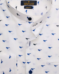 Blue Bird Pattern Cotton Shirt
