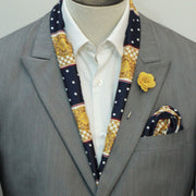 Blue & Gold Medal Silk Scarf Set