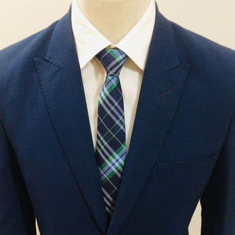 Blue & Green Checks & Plaids Neck Tie