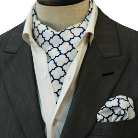 Blue Tartan Silk Cravat Set