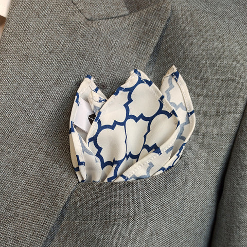 Blue Tartan Silk Pocket Square