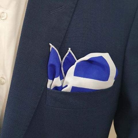 Blue & White Boxed Pocket Square